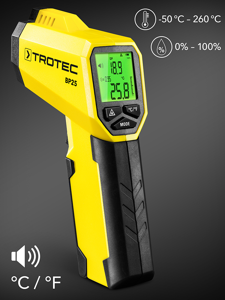 TROTEC BP25 Dew Point Scanner Laser Pyrometer Infrared Thermometer 260°C