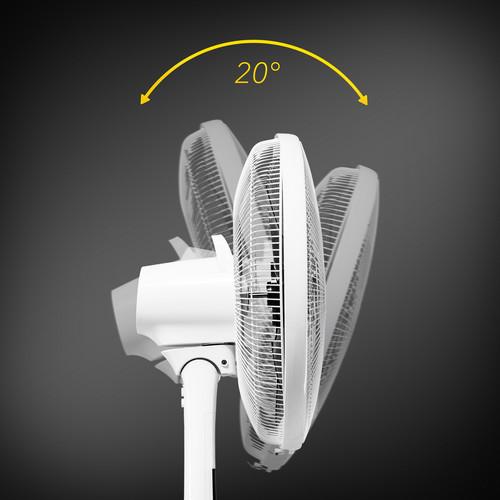 Có thể điều chỉnh góc nghiêng của đầu quạt lên đến 20 °.