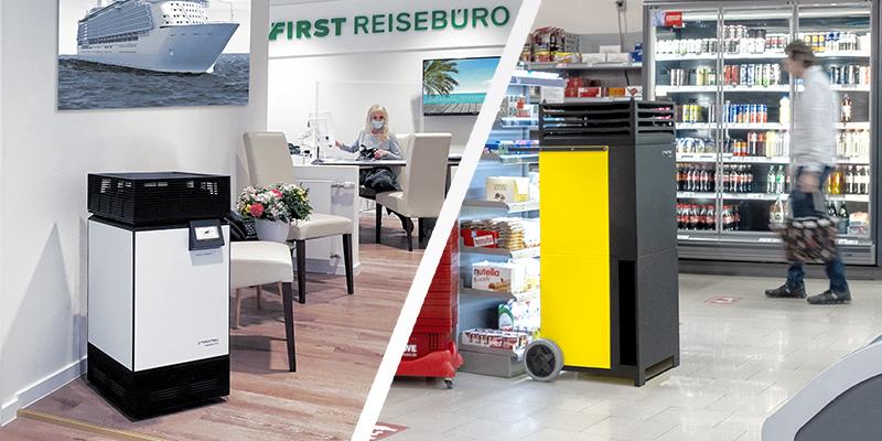 Habitaciones libres de virus y aire respirable en supermercados, tiendas de bricolaje y tiendas-Trotec